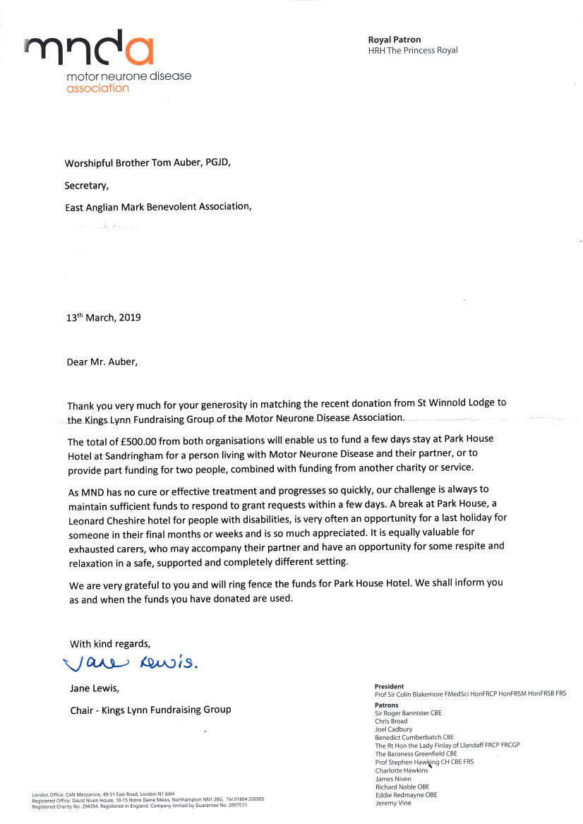 'Thank you' Letter from MND Association