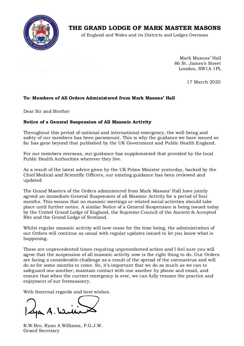 17.03.20 Suspension of all Masonic Activity